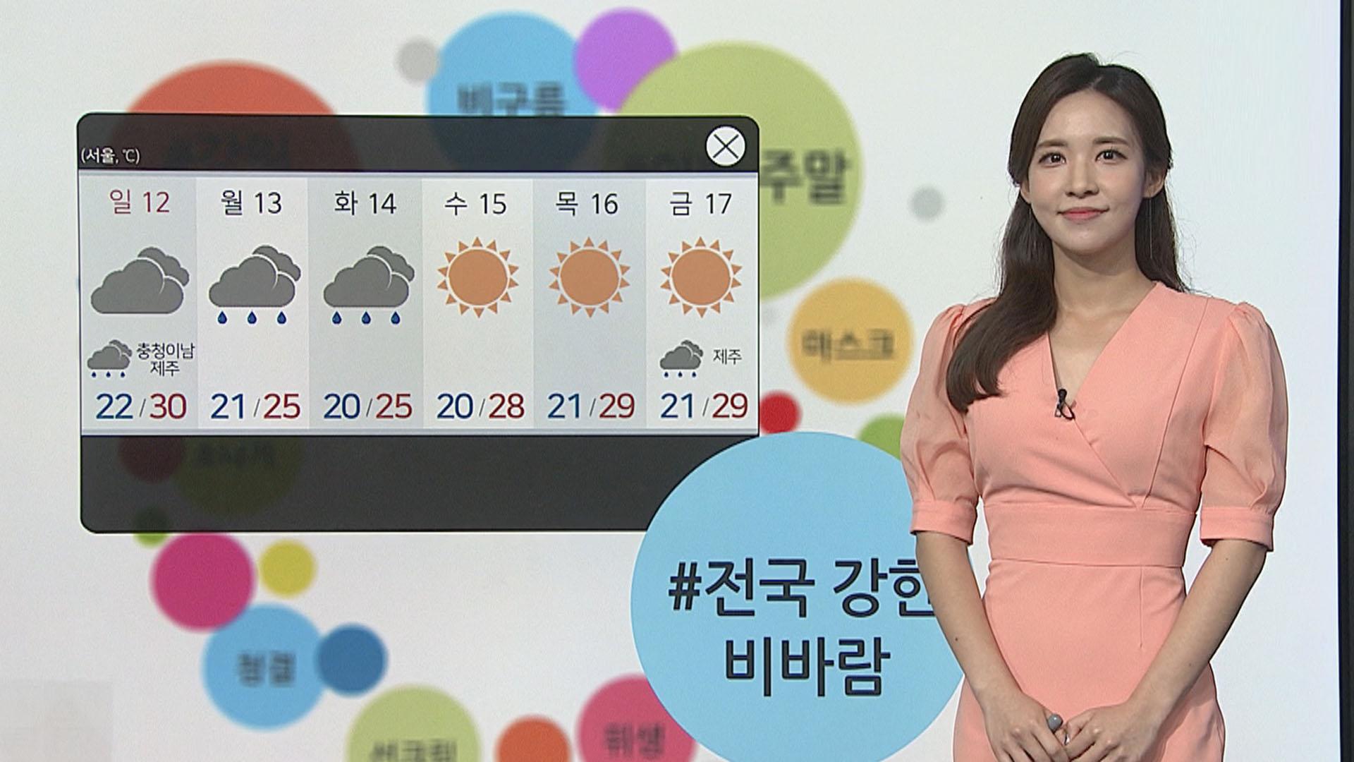 [날씨트리] 주말 흐리고 곳곳 비…다시 낮더위, 서울 31도