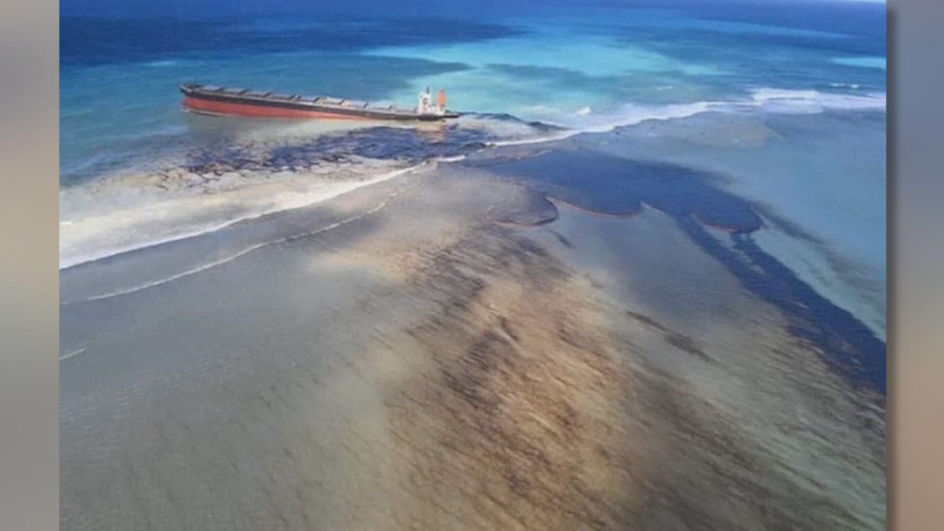 모리셔스 해안에 일본 선박 좌초…기름 유출 비상