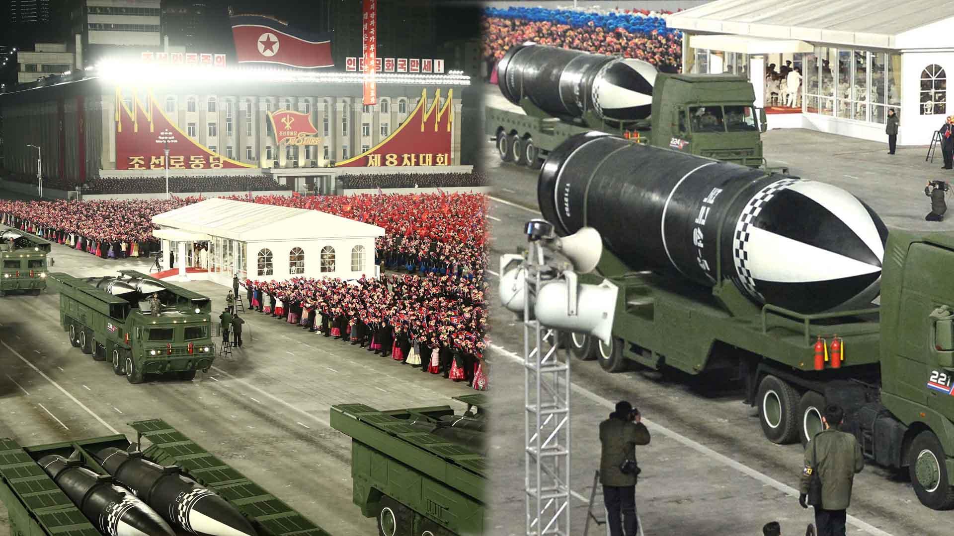 北 열병식 개최…신형 SLBM·전술핵용 미사일 등장