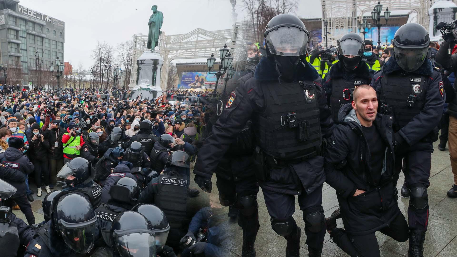 러시아 전역서 '푸틴 정적' 나발니 석방 요구 시위