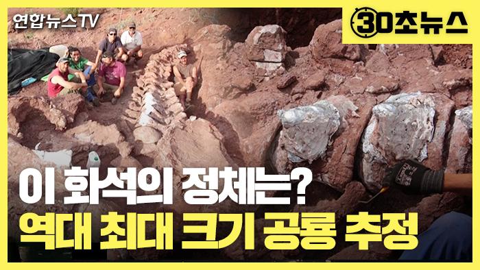[30초뉴스] 이 화석의 정체는?…역대 최대 크기 공룡 추정