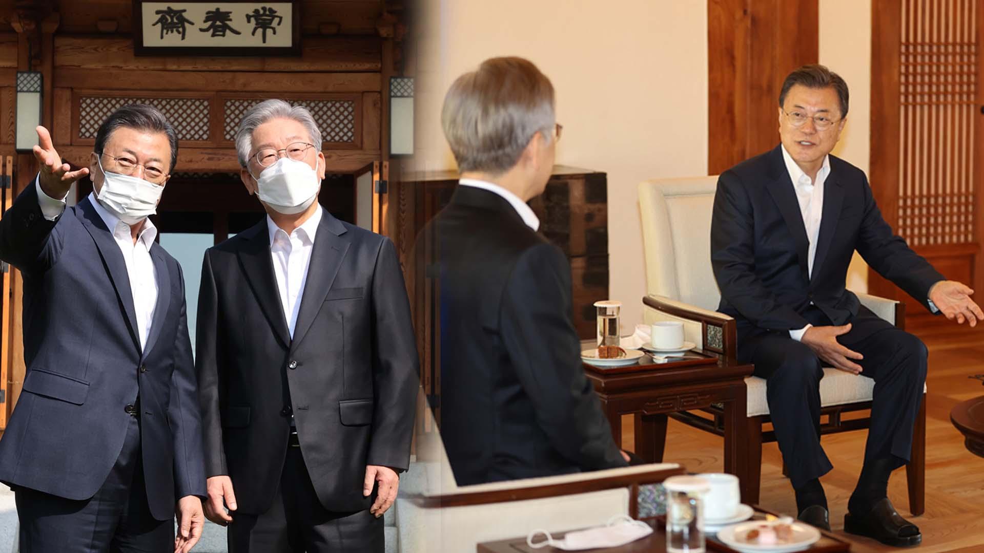 문대통령·이재명, 청와대 상춘재서 차담 회동